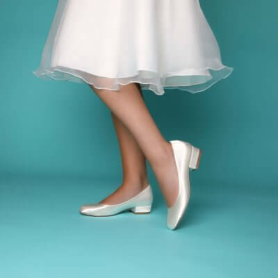 fern dyeable satin flat bridal shoes
