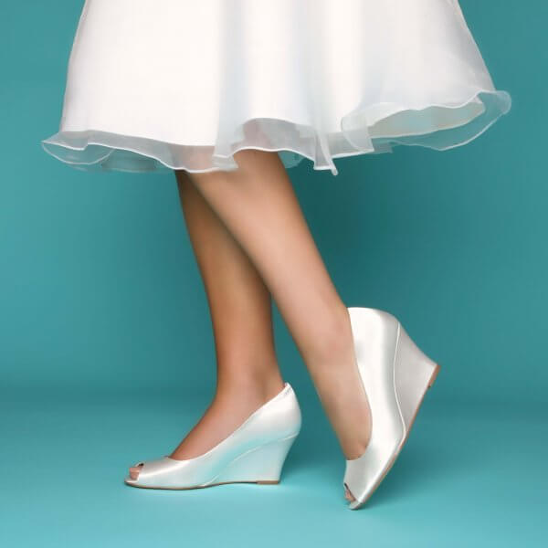 flora dyeable satin wedding wedges