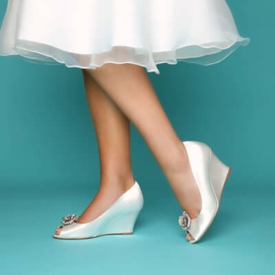 flora dyeable satin wedding wedges with guava pearl shoe clips