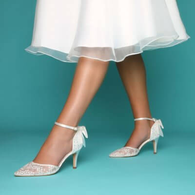 florence sequin lace illusion mesh and satin bridal shoes with bow