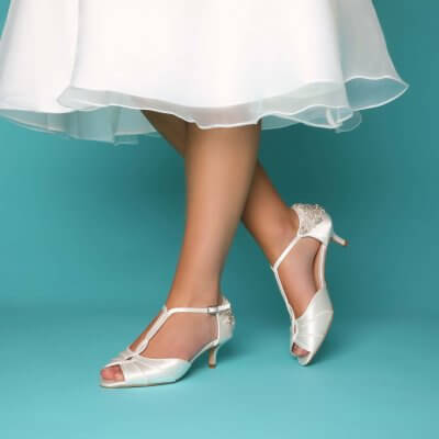 georgie dyeable satin kitten heel bridal shoes