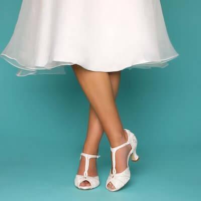 greta lace and brocade vintage t-bar bridal shoes