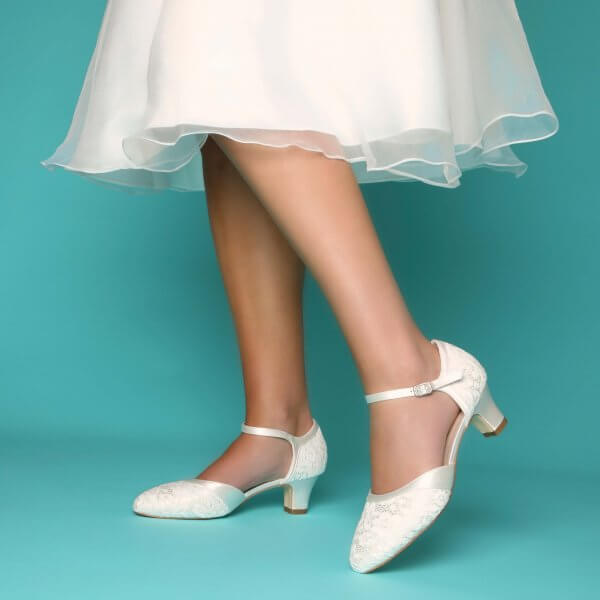 ingrid lace low heel bridal shoes
