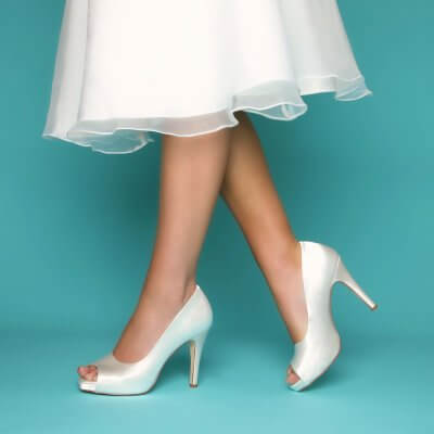 marietta dyeable satin high heel peep toe bridal shoes