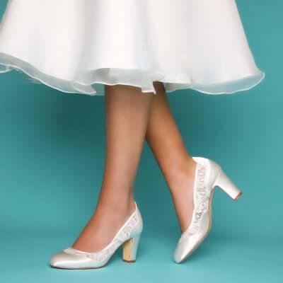 marlene dyeable ivory satin block heel bridal shoes