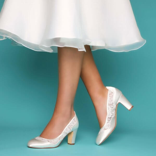 marlene dyeable ivory satin block heel bridal shoes