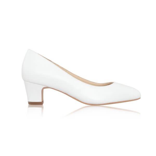 melanie leather low heel bridal shoes