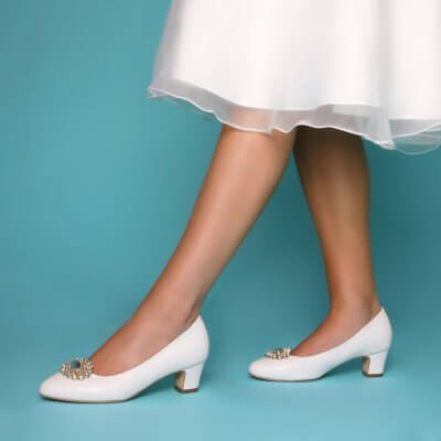 melanie leather low heel bridal shoes