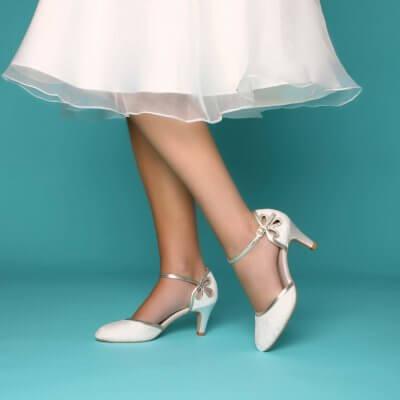 nina mid heel vintage bridal shoes