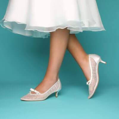 poppy spot mesh kitten low heel bridal shoes