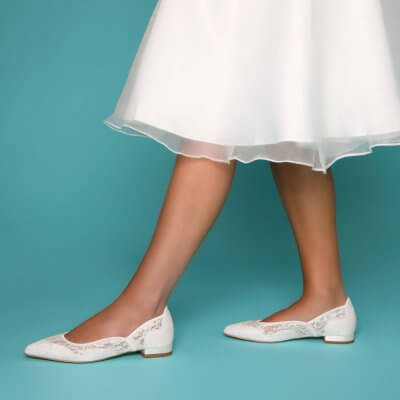 primrose lace flat bridal shoes