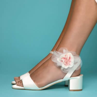 riley low block heel bridal shoes with pink apple blossom shoe clips