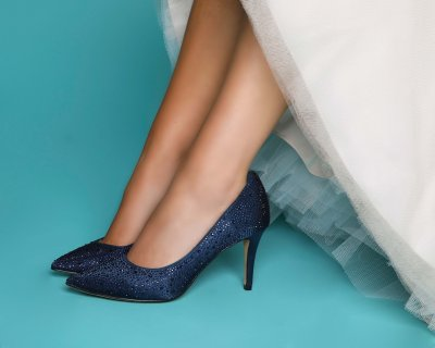 stara navy crystal encrusted court shoes