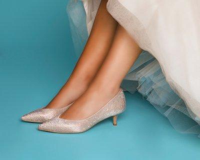 stella nude crystal encrusted kitten heel court shoes