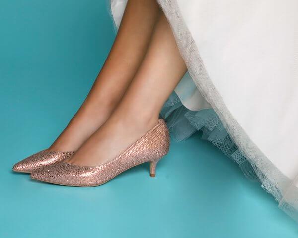 stella rose gold crystal encrustella kitten heel court shoes