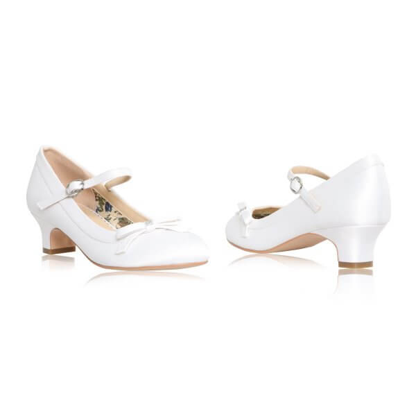Beth white satin communion shoes with bow and diamante