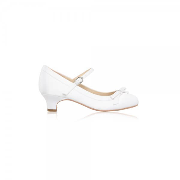 beth white satin communion shoes