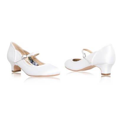 lara scallop counter white satin communion shoes