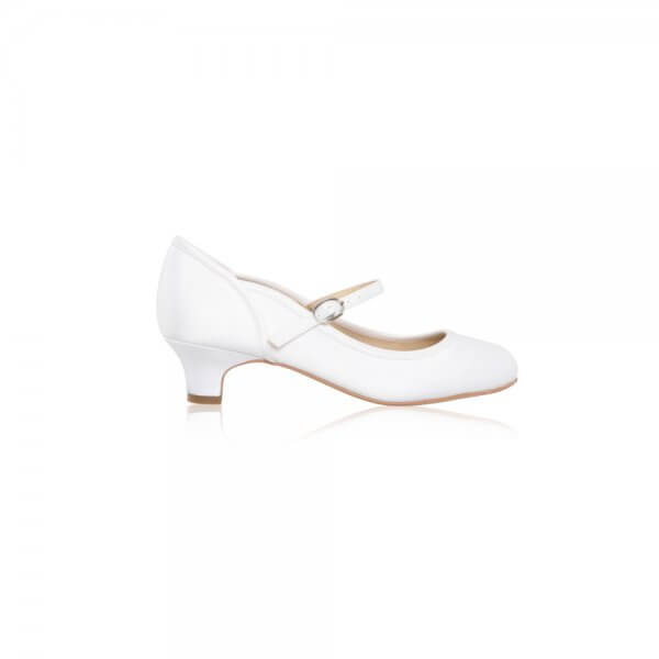 lara scallop counter white satin communion shoes