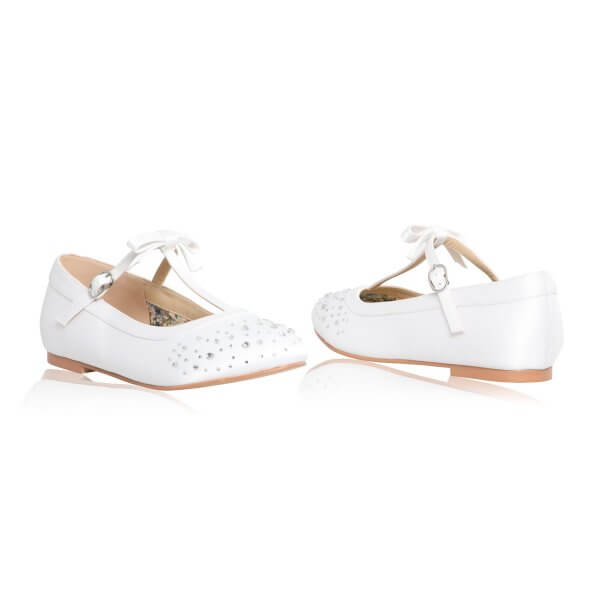 ruthie flat white satin with diamante t-bar communion shoes