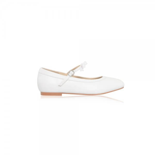 sophie white leather flat communion shoe with bow