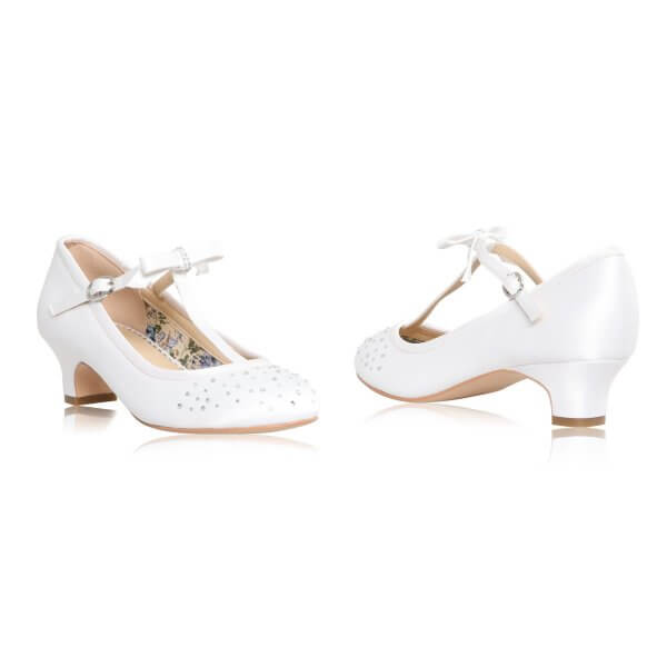 vickie white satin diamante t-bar communion shoes