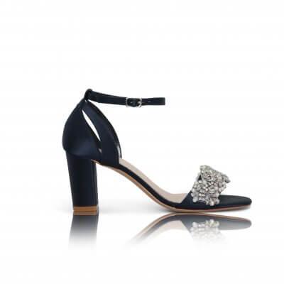 alexa navy satin block heel sandal