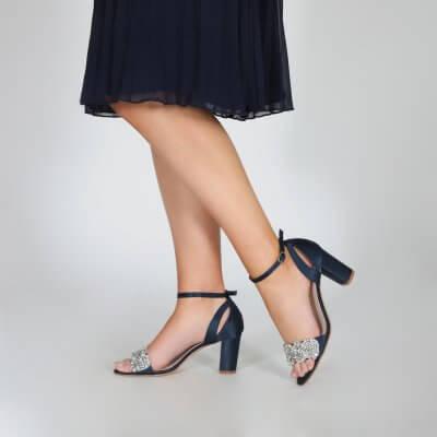 alexa navy satin block heel sandals