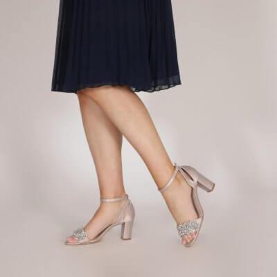 alexa taupe satin block heel sandals