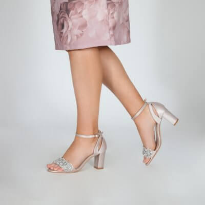 alexa taupe satin block heel sandals