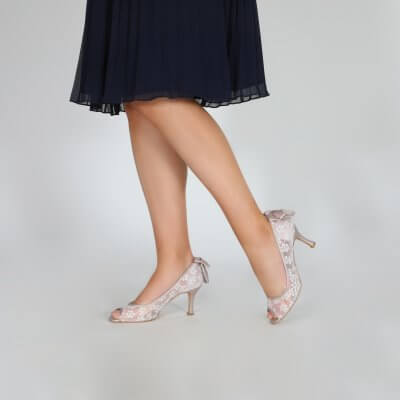beau taupe bow back lace peep toe court