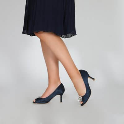 Gina navy peep toe occasion shoes