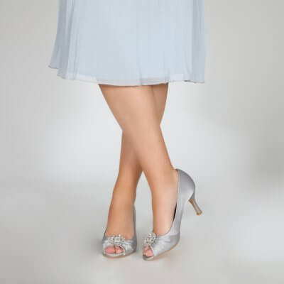 Gina silver peep toe occasion shoes