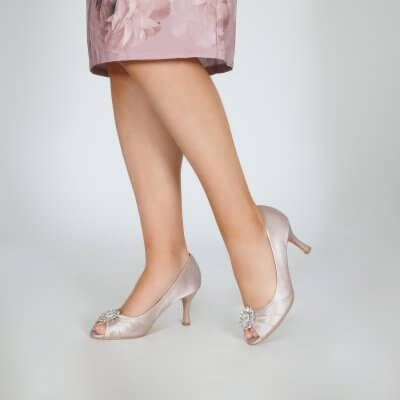 Gina taupe peep toe occasion shoes