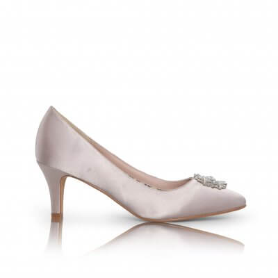 Katrin taupe satin court shoes with crystal brooch