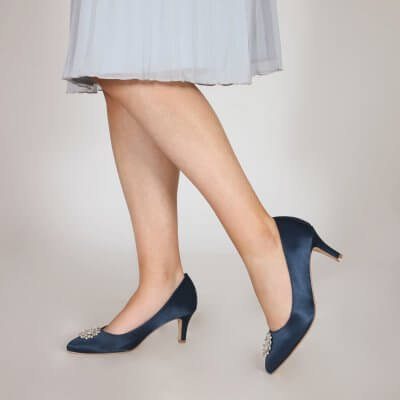 Katrin navy satin court shoes with crystal brooch