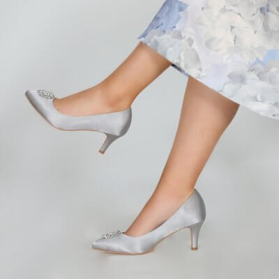 Katrin silver satin court shoes with crystal brooch
