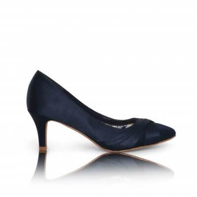 sally navy satin criss cross vamp court shoes