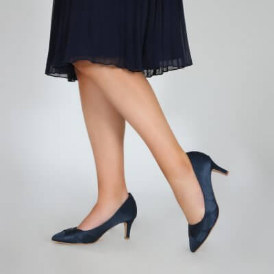 sally navy satin criss cross vamp court shoes