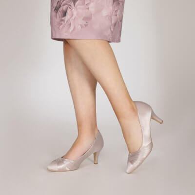 sally taupe satin criss cross vamp court shoes