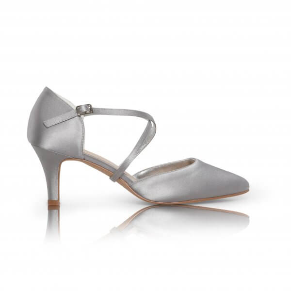 Sally silver satin cross strap court shoes