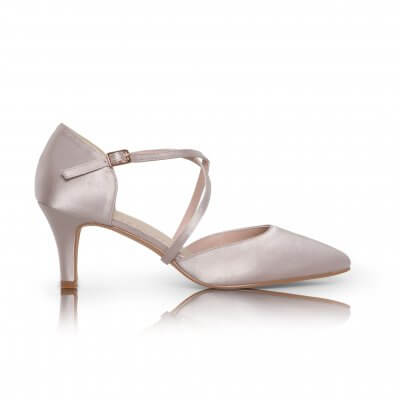 Sonya taupe satin cross strap court shoes