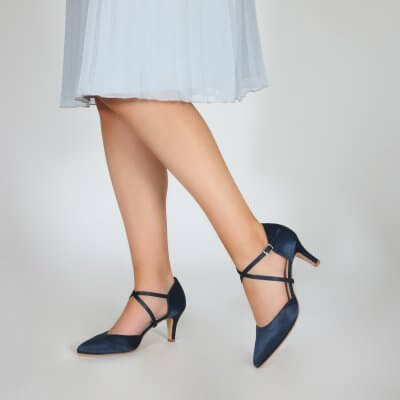 Sonya navy satin cross strap court shoes