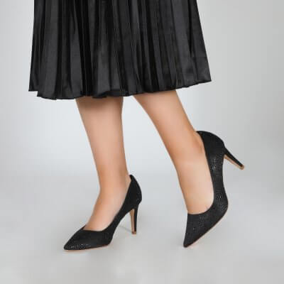 stara black crystal encrusted sparkly evening shoes