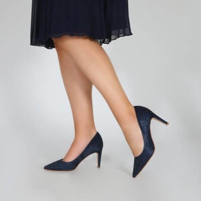 stara navy crystal encrusted sparkly evening shoes