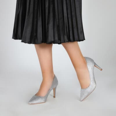 stara silver crystal encrusted sparkly evening shoes