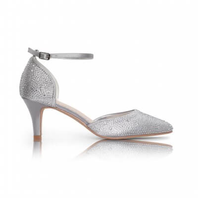 Xena silver diamante sparkly two part court shoe