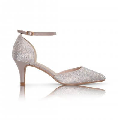 Xena taupe diamante sparkly two part court shoe