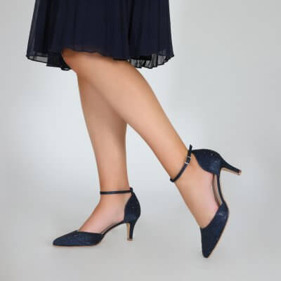 Xena navy diamante sparkly two part court shoe
