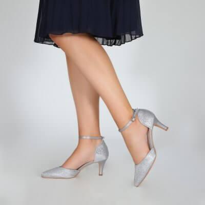 Xena diamante silver sparkly two part court shoe